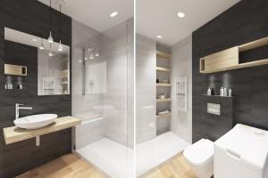 Projekt wnętrza łazienki - mieszkanie we Wrocławiu