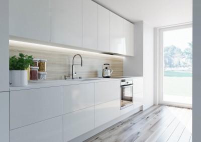 Projekt wnętrza kuchni - apartament w Warszawie