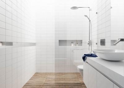 Projekt wnętrza łazienki - apartament w Warszawie