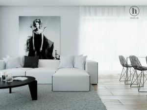 Projekt wnętrza salonu w domku jednorodzinnym