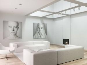 Projekt wnętrza salonu w domu jednorodzinnym - Wrocław