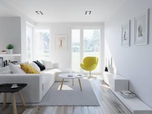 Projekt wnętrza salonu - apartament w Warszawie