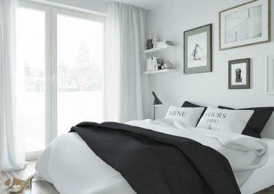 Projekt wnętrza sypialni - apartament w Warszawie